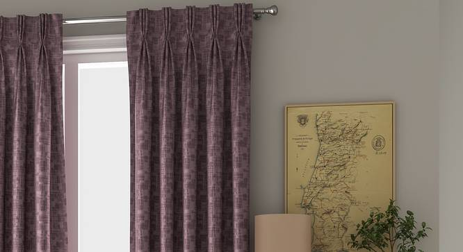 "Arezzo Door Curtains - Set Of 2 (112 x 274 cm  (44"" x 108"") Curtain Size, Heather) by Urban Ladder - Design 1 Full View - 325032"