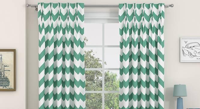 "Chevron Door Curtains - Set Of 2 (112 x 213 cm  (44"" x 84"") Curtain Size, Light Green) by Urban Ladder - Design 1 Details - 325049"