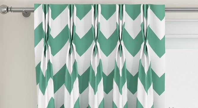 "Chevron Door Curtains - Set Of 2 (112 x 274 cm  (44"" x 108"") Curtain Size, Light Green) by Urban Ladder - Design 1 Top View - 325056"