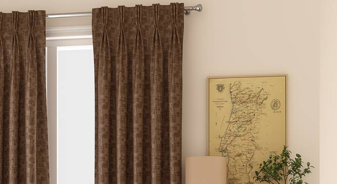 "Arezzo Door Curtains - Set Of 2 (Mocha, 112 x 213 cm  (44"" x 84"") Curtain Size) by Urban Ladder - Design 1 Full View - 325077"
