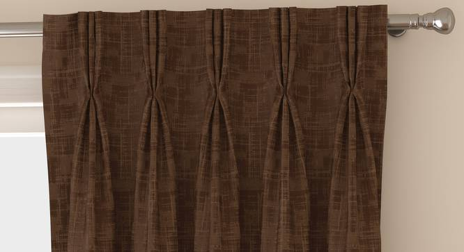 "Arezzo Door Curtains - Set Of 2 (Mocha, 112 x 274 cm  (44"" x 108"") Curtain Size) by Urban Ladder - Front View Design 1 - 325083"