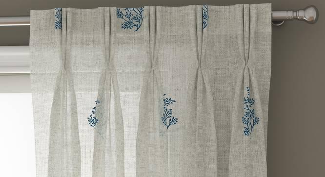 "Jaisalmer Sheer Door Curtains - Set Of 2 (Blue, 112 x 213 cm  (44"" x 84"") Curtain Size) by Urban Ladder - Design 1 Top View - 325100"