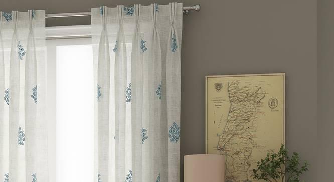 "Jaisalmer Sheer Door Curtains - Set Of 2 (Blue, 112 x 274 cm  (44"" x 108"") Curtain Size) by Urban Ladder - Design 1 Details - 325105"