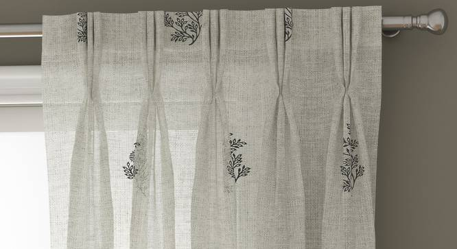 "Jaisalmer Sheer Window Curtains - Set Of 2 (Charcoal, 112 x 152 cm  (44"" x 60"") Curtain Size) by Urban Ladder - Design 1 Top View - 325112"