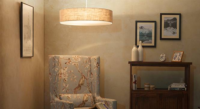 Halo Ceiling Light (Single Arrangement, Natural Linen Shade Finish) by Urban Ladder - - 32513