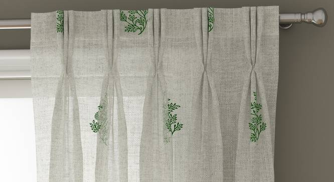 "Jaisalmer Sheer Window Curtains - Set Of 2 (Green, 112 x 152 cm  (44"" x 60"") Curtain Size) by Urban Ladder - Design 1 Top View - 325130"
