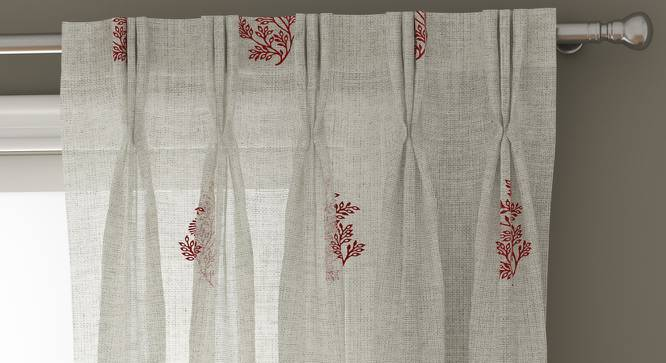 "Jaisalmer Sheer Window Curtains - Set Of 2 (Maroon, 112 x 152 cm  (44"" x 60"") Curtain Size) by Urban Ladder - Design 1 Top View - 325148"