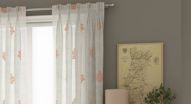 "Jaisalmer Sheer Window Curtains - Set Of 2 (Red, 112 x 152 cm  (44"" x 60"") Curtain Size) by Urban Ladder - Design 1 Details - 325165"