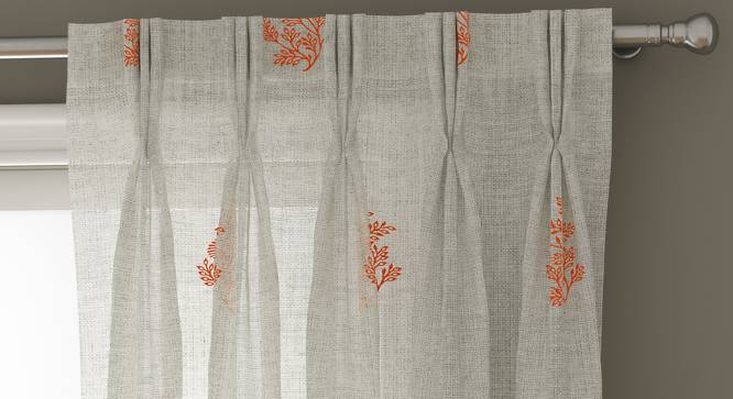 "Jaisalmer Sheer Window Curtains - Set Of 2 (Red, 112 x 152 cm  (44"" x 60"") Curtain Size) by Urban Ladder - Design 1 Top View - 325166"