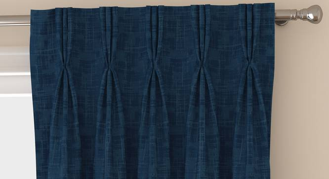 "Arezzo Door Curtains - Set Of 2 (Navy Blue, 112 x 213 cm  (44"" x 84"") Curtain Size) by Urban Ladder - Front View Design 1 - 325184"