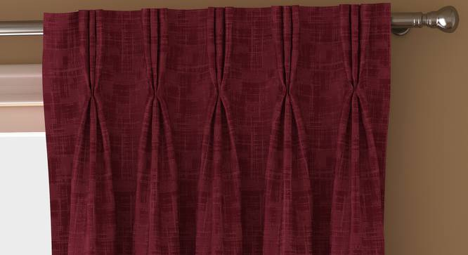 "Arezzo Door Curtains - Set Of 2 (112 x 213 cm  (44"" x 84"") Curtain Size, PLUM) by Urban Ladder - Front View Design 1 - 325222"