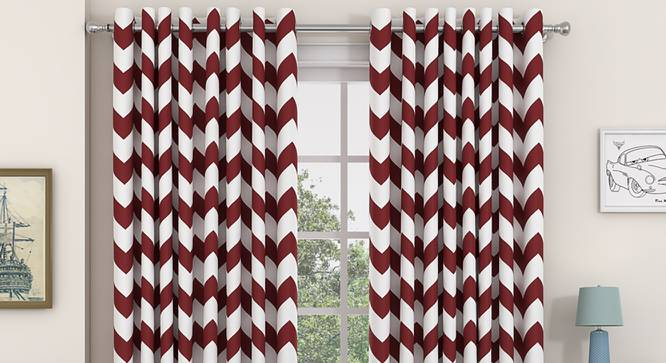 "Chevron Window Curtains - Set Of 2 (Brick Red, 112 x 152 cm  (44"" x 60"") Curtain Size) by Urban Ladder - Design 1 Details - 325253"