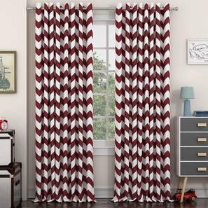 """Chevron Door Curtains - Set Of 2 (Brick Red, 112 x 274 cm  (44"""" x 108"""") Curtain Size) by Urban Ladder - Design 1 Details - 325265"""