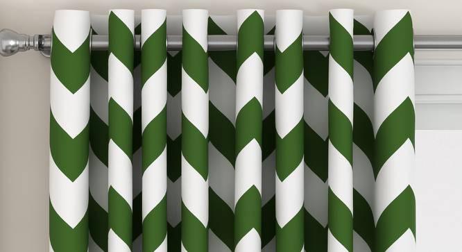 "Chevron Door Curtains - Set Of 2 (Green, 112 x 274 cm  (44"" x 108"") Curtain Size) by Urban Ladder - Design 1 Top View - 325284"