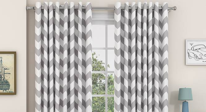 "Chevron Window Curtains - Set Of 2 (Dark Grey, 112 x 152 cm  (44"" x 60"") Curtain Size) by Urban Ladder - Design 1 Details - 325289"