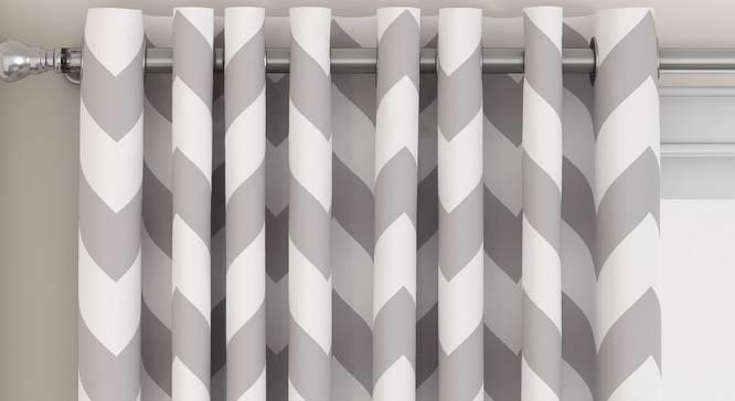"""Chevron Door Curtains - Set Of 2 (Dark Grey, 112 x 213 cm  (44"""" x 84"""") Curtain Size) by Urban Ladder - Design 1 Top View - 325296"""