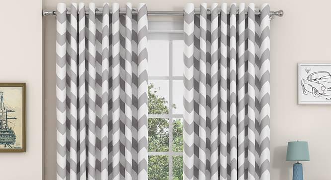 """Chevron Door Curtains - Set Of 2 (Dark Grey, 112 x 274 cm  (44"""" x 108"""") Curtain Size) by Urban Ladder - Design 1 Details - 325301"""