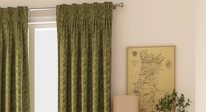 "Arezzo Door Curtains - Set Of 2 (112 x 274 cm  (44"" x 108"") Curtain Size, SEAWEED) by Urban Ladder - Design 1 Full View - 325312"