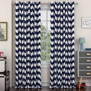 """Chevron Door Curtains - Set Of 2 (Indigo, 112 x 274 cm  (44"""" x 108"""") Curtain Size) by Urban Ladder - Design 1 Details - 325335"""