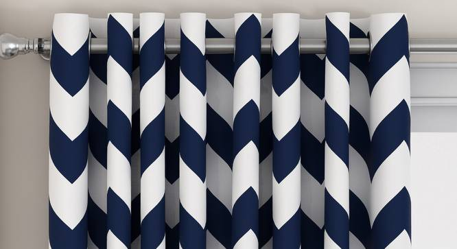 """Chevron Door Curtains - Set Of 2 (Indigo, 112 x 274 cm  (44"""" x 108"""") Curtain Size) by Urban Ladder - Design 1 Top View - 325336"""