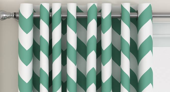 "Chevron Window Curtains - Set Of 2 (112 x 152 cm  (44"" x 60"") Curtain Size, Light Green) by Urban Ladder - Design 1 Top View - 325373"
