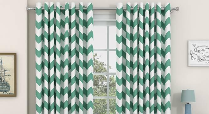 "Chevron Door Curtains - Set Of 2 (112 x 274 cm  (44"" x 108"") Curtain Size, Light Green) by Urban Ladder - Design 1 Details - 325408"