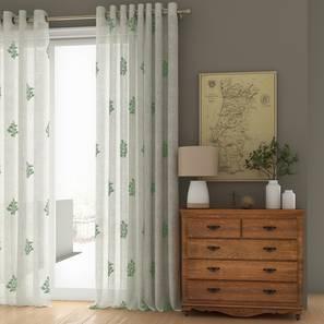 "Jaisalmer Sheer Window Curtains - Set Of 2 (Green, 112 x 152 cm  (44"" x 60"") Curtain Size) by Urban Ladder - Front View Design 1 - 330852"