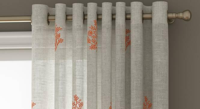 "Jaisalmer Sheer Door Curtains - Set Of 2 (Red, 112 x 213 cm  (44"" x 84"") Curtain Size) by Urban Ladder - Design 1 Top View - 325620"