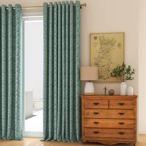 "Arezzo Door Curtains - Set Of 2 (Aqua, 112 x 213 cm  (44"" x 84"") Curtain Size) by Urban Ladder - Design 1 Full View - 325816"