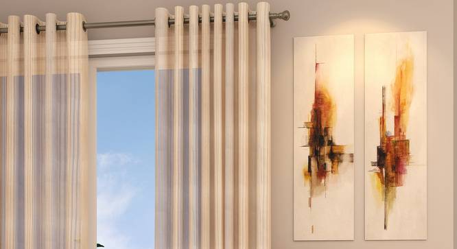 "Roma Sheer Door Curtains - Set Of 2 (Cream, 112 x 213 cm  (44"" x 84"") Curtain Size) by Urban Ladder - Design 1 Full View - 325832"
