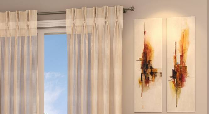 "Roma Sheer Window Curtains - Set Of 2 (Cream, 112 x 152 cm  (44"" x 60"") Curtain Size) by Urban Ladder - Design 1 Full View - 325843"