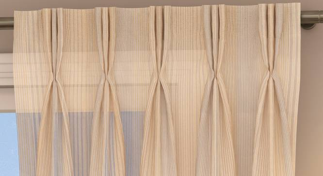 "Roma Sheer Window Curtains - Set Of 2 (Cream, 112 x 152 cm  (44"" x 60"") Curtain Size) by Urban Ladder - Design 1 Top Image - 325844"