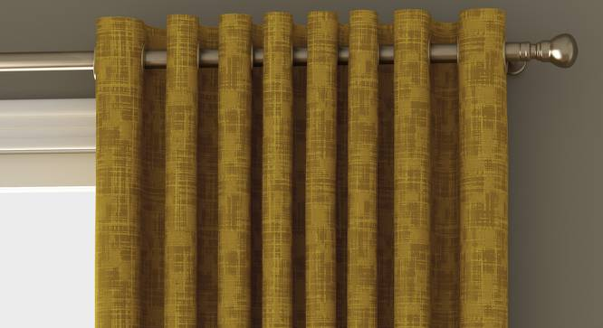 """Arezzo Window Curtains - Set Of 2 (112 x 152 cm  (44"""" x 60"""") Curtain Size, HONEY) by Urban Ladder - Front View Design 1 - 325850"""