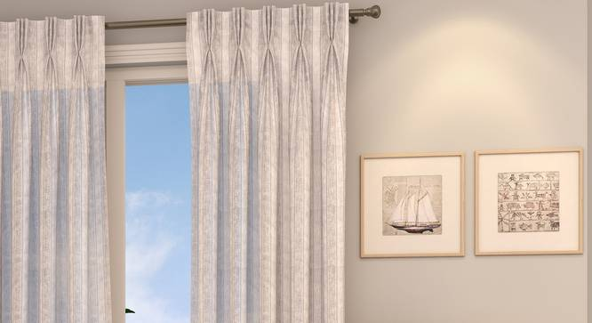 "Rustic Sheer Door Curtains - Set Of 2 (Ivory, 112 x 274 cm  (44"" x 108"") Curtain Size) by Urban Ladder - Design 1 Full View - 325879"