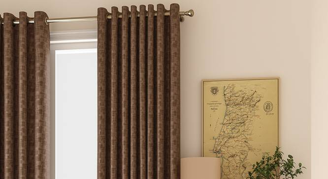 "Arezzo Door Curtains - Set Of 2 (Mocha, 112 x 213 cm  (44"" x 84"") Curtain Size) by Urban Ladder - Design 1 Full View - 325902"