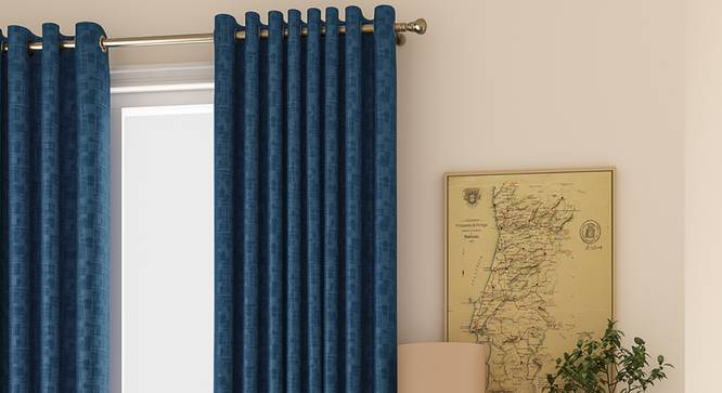 "Arezzo Door Curtains - Set Of 2 (Navy Blue, 112 x 213 cm  (44"" x 84"") Curtain Size) by Urban Ladder - Design 1 Full View - 325920"