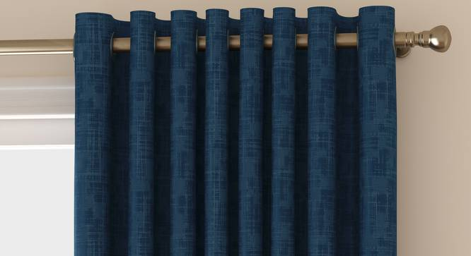 """Arezzo Window Curtains - Set Of 2 (Navy Blue, 112 x 152 cm  (44"""" x 60"""") Curtain Size) by Urban Ladder - Front View Design 1 - 325933"""