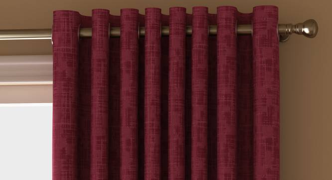 "Arezzo Door Curtains - Set Of 2 (112 x 274 cm  (44"" x 108"") Curtain Size, PLUM) by Urban Ladder - Front View Design 1 - 325993"