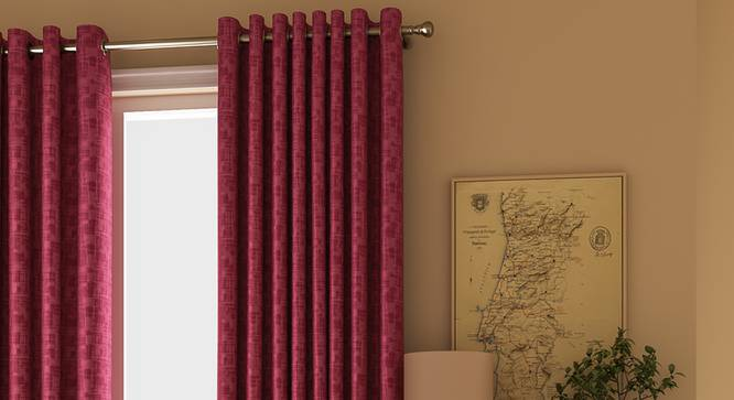 """Arezzo Window Curtains - Set Of 2 (112 x 152 cm  (44"""" x 60"""") Curtain Size, PLUM) by Urban Ladder - Design 1 Full View - 325998"""