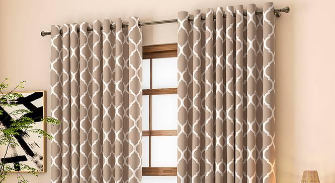 "Taj Window Curtains - Set Of 2 (Beige, 112 x 152 cm  (44"" x 60"") Curtain Size) by Urban Ladder - Design 1 Full View - 326004"