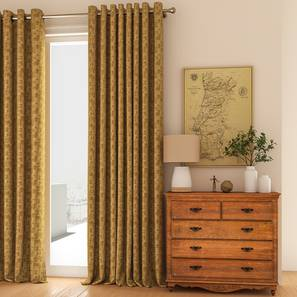 """Arezzo Door Curtains - Set Of 2 (Sand, 112 x 274 cm  (44"""" x 108"""") Curtain Size) by Urban Ladder - Design 1 Full View - 326034"""