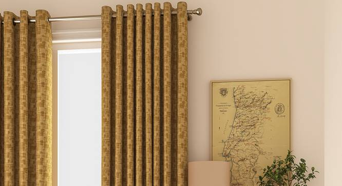 "Arezzo Door Curtains - Set Of 2 (Sand, 112 x 274 cm  (44"" x 108"") Curtain Size) by Urban Ladder - Design 1 Full View - 326034"