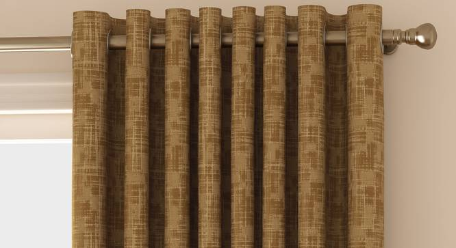 """Arezzo Window Curtains - Set Of 2 (Sand, 112 x 152 cm  (44"""" x 60"""") Curtain Size) by Urban Ladder - Front View Design 1 - 326041"""