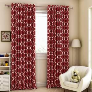 Taj window curtains   set of 2 brick red 5 ft lp