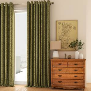 """Arezzo Door Curtains - Set Of 2 (112 x 274 cm  (44"""" x 108"""") Curtain Size, SEAWEED) by Urban Ladder - Design 1 Full View - 326088"""