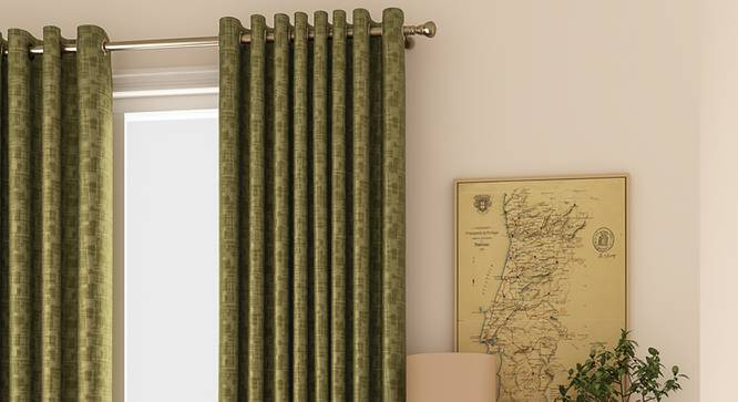 """Arezzo Window Curtains - Set Of 2 (112 x 152 cm  (44"""" x 60"""") Curtain Size, SEAWEED) by Urban Ladder - Design 1 Full View - 326094"""