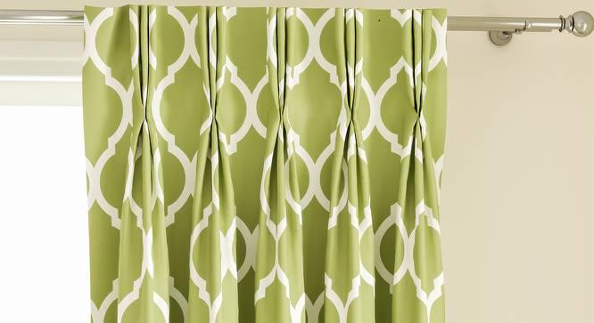 "Taj Door Curtains - Set Of 2 (112 x 213 cm  (44"" x 84"") Curtain Size, Light Green) by Urban Ladder - Design 1 Top Image - 326107"
