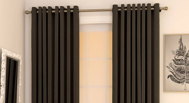 "Matka Door Curtains - Set Of 2 (Brown, 112 x 213 cm  (44"" x 84"") Curtain Size) by Urban Ladder - Design 1 Full View - 326184"