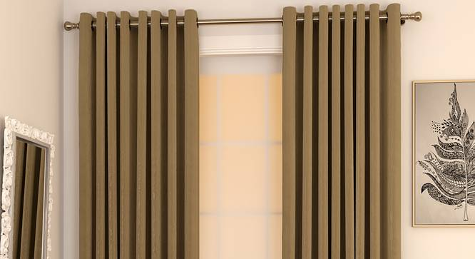 "Matka Door Curtains - Set Of 2 (112 x 213 cm  (44"" x 84"") Curtain Size, Khaki) by Urban Ladder - Design 1 Full View - 326267"
