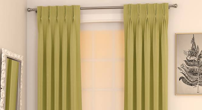 "Matka Door Curtains - Set Of 2 (Lime Green, 112 x 213 cm  (44"" x 84"") Curtain Size) by Urban Ladder - Design 1 Full View - 326274"